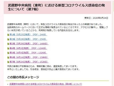 武蔵野中央病院の新型コロナウイルス感染症の発表内容(第7報)を掲載した小金井市のホームページ