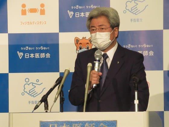 日医の中川会長(31日、日医会館)